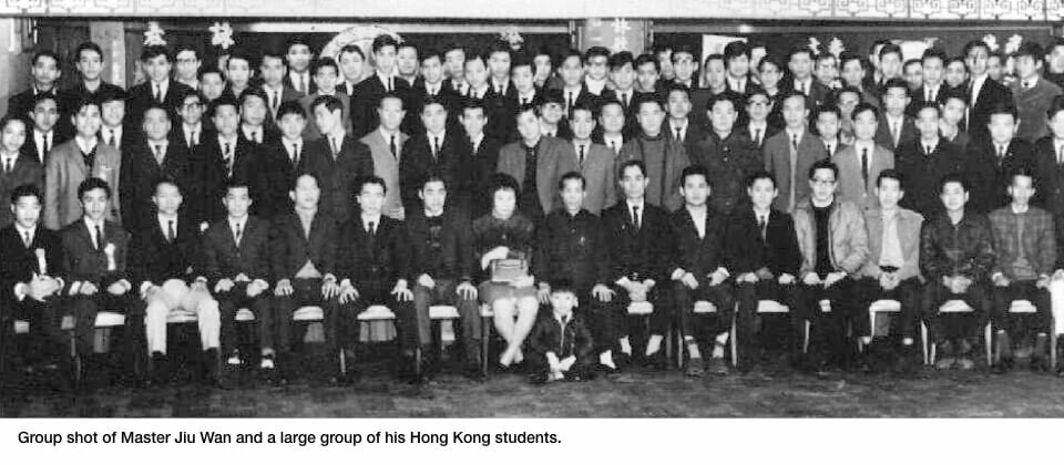 Master Jiu Wan and a large group of his Hong Kong students.